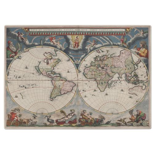 Old World Map 1662 Tempered Glass Chopping Board